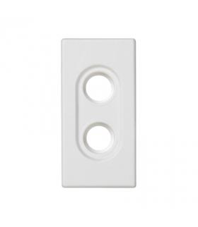 Płytka K45 pusta do złącz 2× RCA (CINCH) 45×22,5mm czysta biel K101/9