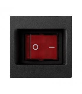 Łącznik dwubiegunowy K45 z sygnalizacja załączenia kolor czerwony 16AX 250V 45×45mm szary grafit KL04/14