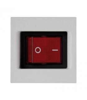Łącznik dwubiegunowy K45 z sygnalizacja załączenia kolor czerwony 16AX 250V 45×45mm czysta biel KL04/9