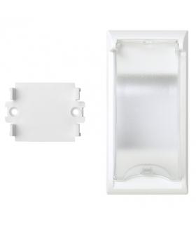 Płytka z pokrywą SIMON 500 do aparatury 2-polowej do puszek podłogowych 100×50mm czysta biel 50010074-030