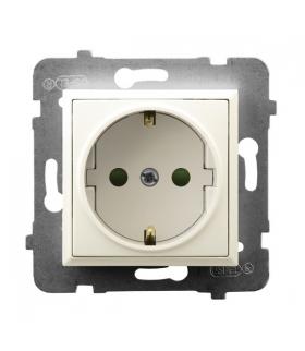 ARIA GP-1USP/m/27 Gniazdo pojedyncze z uziemieniem z przesłonami torów prądowych, ECRU