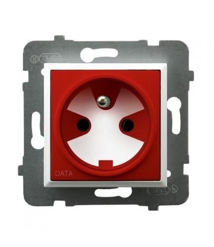 ARIA GP-1UZK/m/00/22 Gniazdo pojedyncze z uziemieniem DATA z kluczem uprawniającym, BIAŁY
