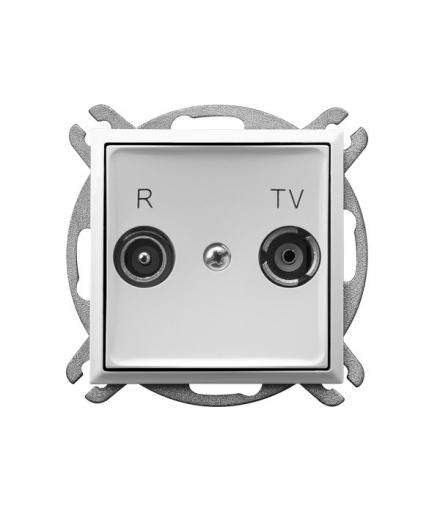 ARIA GPA-10UP/m/00 Gniazdo RTV przelotowe 10-dB, BIAŁY