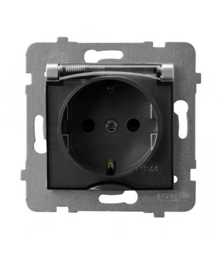 ARIA GPH-1US/m/18/d Gniazdo bryzgoszczelne z uziemieniem schuko IP-44 wieczko przezroczyste, SREBRO