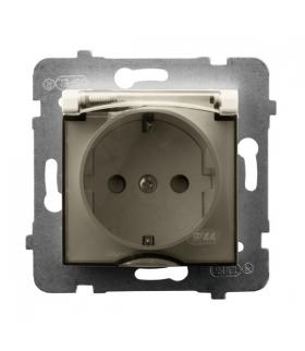 ARIA GPH-1US/m/27/d Gniazdo bryzgoszczelne z uziemieniem schuko IP-44 wieczko przezroczyste, ECRU