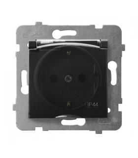 ARIA GPH-1US/m/33/d Gniazdo bryzgoszczelne z uziemieniem schuko IP-44 wieczko przezroczyste, CZARNY METALIK