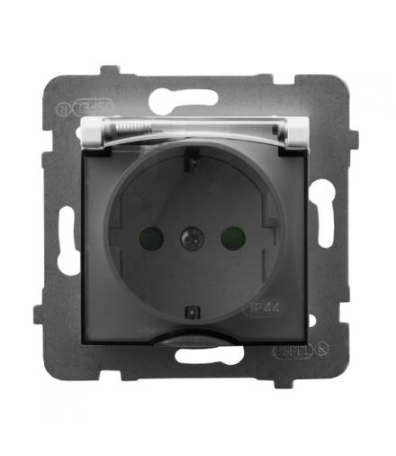 ARIA GPH-1USP/m/00/d Gniazdo bryzgoszczelne z uziemieniem schuko IP-44 wieczko przezroczyste z przesłonami torów prądowych, BIAŁ