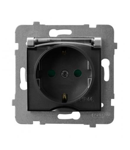 ARIA GPH-1USP/m/18/d Gniazdo bryzgoszczelne z uziemieniem schuko IP-44 z przesłonami torów prądowych wieczko przezroczyste, SREB