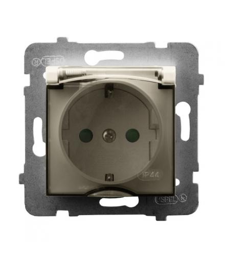 ARIA GPH-1USP/m/27/d Gniazdo bryzgoszczelne z uziemieniem schuko IP-44 wieczko przezroczyste z przesłonami torów prądowych, ECRU