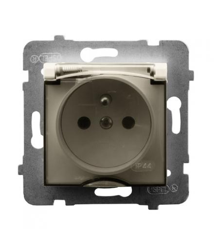ARIA GPH-1UZ/m/27/d Gniazdo bryzgoszczelne z uziemieniem IP-44 wieczko przezroczyste, ECRU