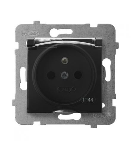 ARIA GPH-1UZ/m/33/d Gniazdo bryzgoszczelne z uziemieniem IP-44 wieczko przezroczyste, CZARNY METALIK