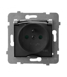 ARIA GPH-1UZP/m/18/d Gniazdo bryzgoszczelne z uziemieniem IP-44 z przesłonami torów prądowych wieczko przezroczyste, SREBRO