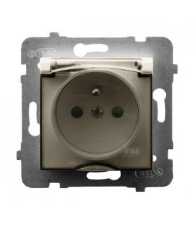 ARIA GPH-1UZP/m/27/d Gniazdo bryzgoszczelne z uziemieniem IP-44 z przesłonami torów prądowych wieczko przezroczyste, ECRU