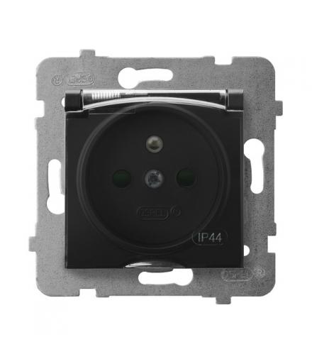 ARIA GPH-1UZP/m/33/d Gniazdo bryzgoszczelne z uziemieniem IP-44 z przesłonami torów prądowych wieczko przezroczyste, CZARNY META