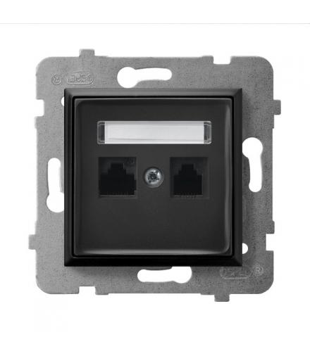 ARIA GPK-2U/K/m/33 Gniazdo komputerowe podwójne, kat. 5e MMC, CZARNY METALIK