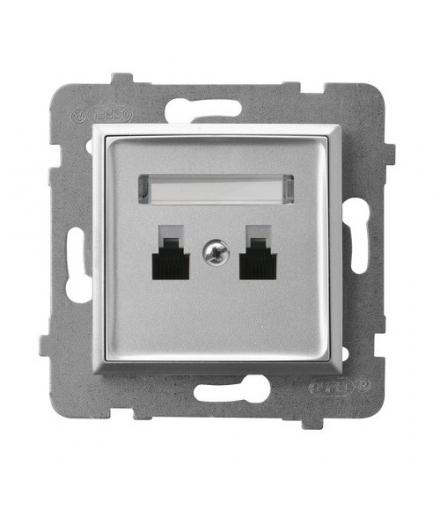 ARIA GPT-2UR/m/18 Gniazdo telefoniczne podwójne równoległe, SREBRO