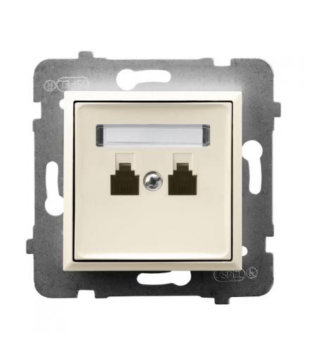ARIA GPT-2UR/m/27 Gniazdo telefoniczne podwójne równoległe, ECRU