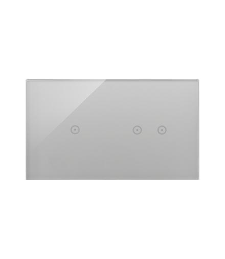Panel dotykowy 2 moduły 1 pole dotykowe, 2 pola dotykowe poziome, srebrna mgła DSTR212/71