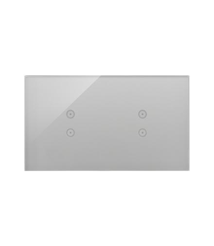 Panel dotykowy 2 moduły 2 pola dotykowe pionowe, 2 pola dotykowe pionowe, srebrna mgła DSTR233/71