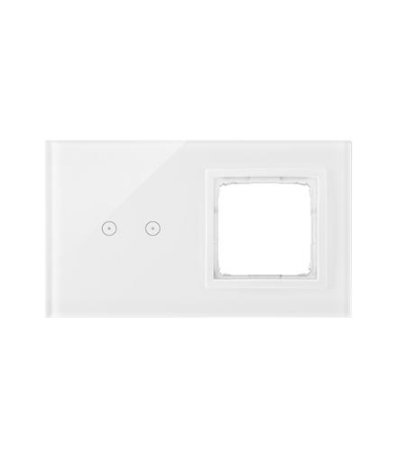 Panel dotykowy 2 moduły 2 pola dotykowe poziome, otwór na osprzęt Simon 54, biała perła DSTR220/70