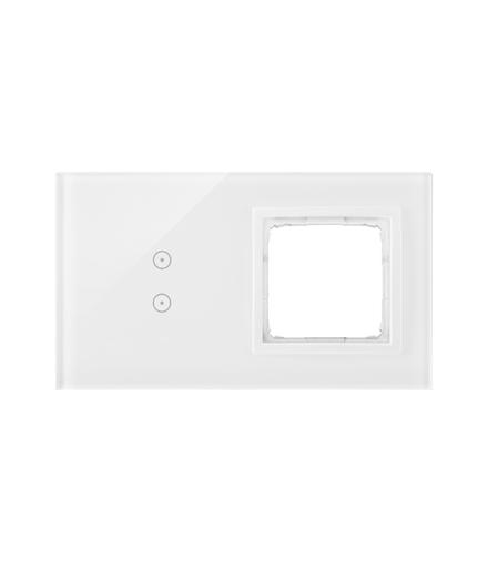 Panel dotykowy 2 moduły 2 pola dotykowe pionowe, otwór na osprzęt Simon 54, biała perła DSTR230/70