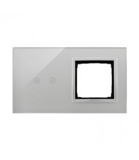 Panel dotykowy 2 moduły 2 pola dotykowe poziome, otwór na osprzęt Simon 54, srebrna mgła DSTR220/71