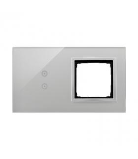 Panel dotykowy 2 moduły 2 pola dotykowe pionowe, otwór na osprzęt Simon 54, srebrna mgła DSTR230/71