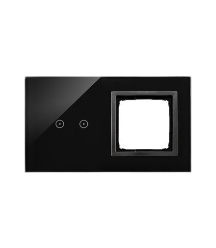 Panel dotykowy 2 moduły 2 pola dotykowe poziome, otwór na osprzęt Simon 54, zastygła lawa DSTR220/73