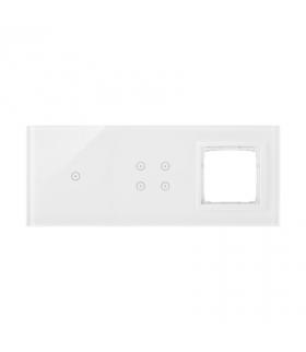 Panel dotykowy 3 moduły 1 pole dotykowe, 4 pola dotykowe, otwór na osprzęt Simon 54, biała perła DSTR3140/70