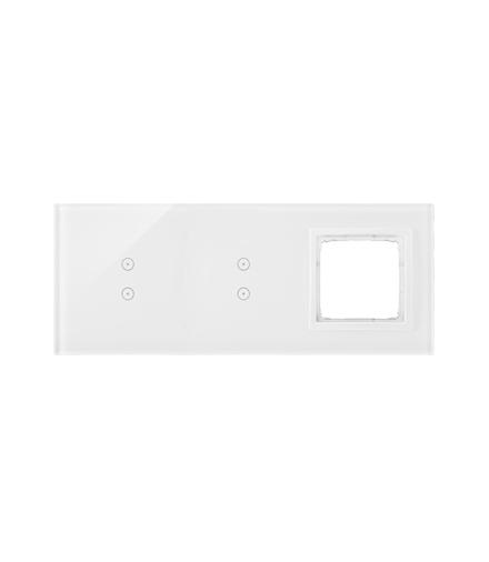 Panel dotykowy 3 moduły 2 pola dotykowe pionowe, 2 pola dotykowe pionowe, otwór na osprzęt Simon 54, biała perła DSTR3330/70
