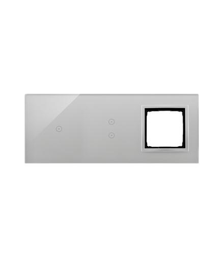 Panel dotykowy 3 moduły 1 pole dotykowe, 2 pola dotykowe pionowe, otwór na osprzęt Simon 54, srebrna mgła DSTR3130/71