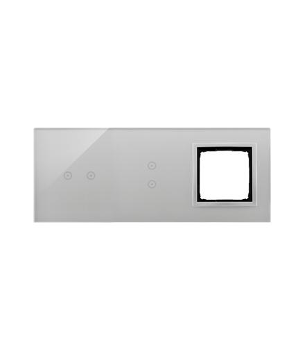 Panel dotykowy 3 moduły 2 pola dotykowe poziome, 2 pola dotykowe pionowe, otwór na osprzęt Simon 54, srebrna mgła DSTR3230/71
