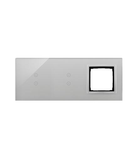 Panel dotykowy 3 moduły 2 pola dotykowe pionowe, 2 pola dotykowe pionowe, otwór na osprzęt Simon 54, srebrna mgła DSTR3330/71