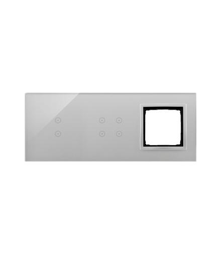 Panel dotykowy 3 moduły 2 pola dotykowe pionowe, 4 pola dotykowe, otwór na osprzęt Simon 54, srebrna mgła DSTR3340/71