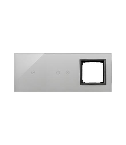 Panel dotykowy 3 moduły 1 pole dotykowe, 2 pola dotykowe poziome, otwór na osprzęt Simon 54, burzowa chmura DSTR3120/72