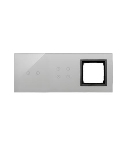 Panel dotykowy 3 moduły 2 pola dotykowe poziome, 4 pola dotykowe, otwór na osprzęt Simon 54, burzowa chmura DSTR3240/72