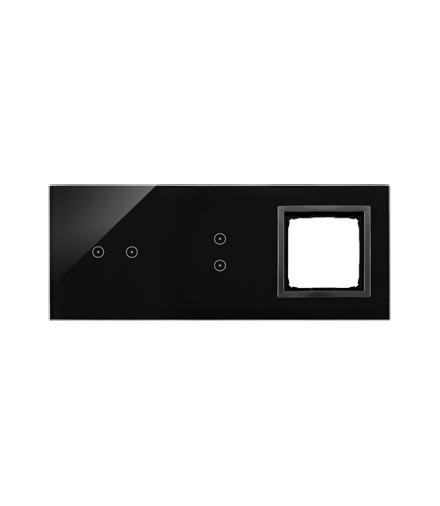 Panel dotykowy 3 moduły 2 pola dotykowe poziome, 2 pola dotykowe pionowe, otwór na osprzęt Simon 54, zastygła lawa DSTR3230/73