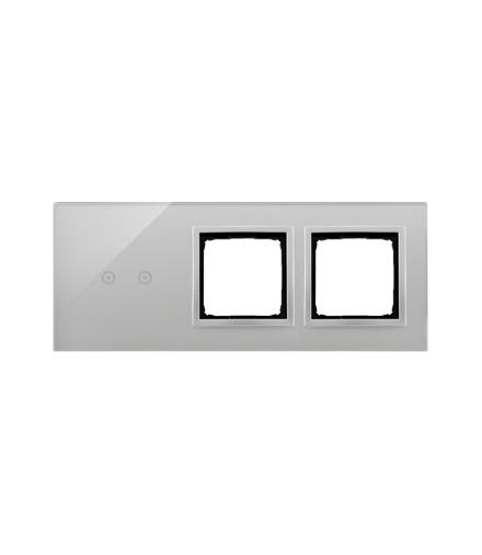Panel dotykowy 3 moduły 2 pola dotykowe poziome, otwór na osprzęt Simon 54, otwór na osprzęt Simon 54, srebrna mgła DSTR3200/71
