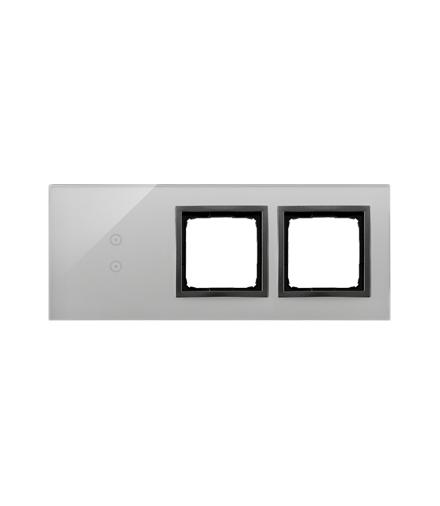 Panel dotykowy 3 moduły 2 pola dotykowe pionowe, otwór na osprzęt Simon 54, otwór na osprzęt Simon 54, burzowa chmura DSTR3300/7