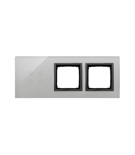 Panel dotykowy 3 moduły 4 pola dotykowe, otwór na osprzęt Simon 54, otwór na osprzęt Simon 54, burzowa chmura DSTR3400/72