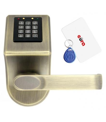 SZYLD Z KONTROLĄ DOSTĘPU EURA ELH-70B9 BRASS z czytnikiem RFID i szyfratorem, uniwersalny rozstaw śrub