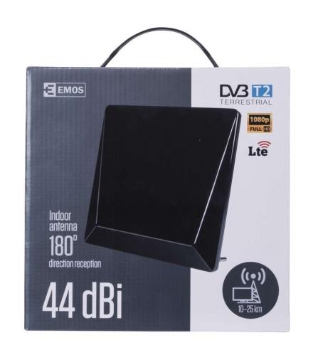 Antena pokojowa DTV-11, 44 dBi, filtr LTE/4G EMOS J0657