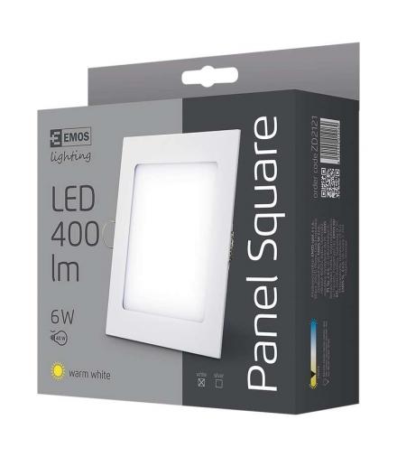 Panel LED wpuszczany kwadratowy 6W IP20 ciepła biel EMOS ZD2121