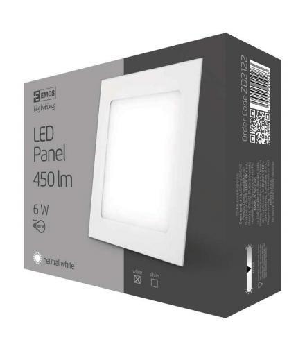 Panel LED wpuszczany kwadratowy 6W IP20 neutralna biel EMOS ZD2122