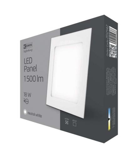 Panel LED wpuszczany kwadratowy 18W IP20 neutralna biel EMOS ZD2142