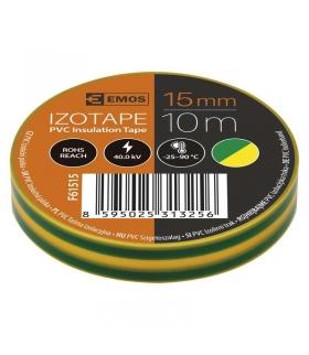 Taśma izolacyjna PVC 15mm / 10m żółto-zielona EMOS F61515