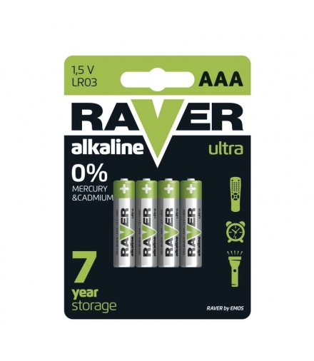 Bateria alkaliczna Raver Ultra Alkaline AAA (LR03) blister 4 EMOS B7911