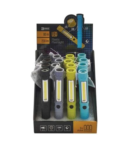 Latarka LED COB + 1 LED 3x AAA box 16 EMOS P3897
