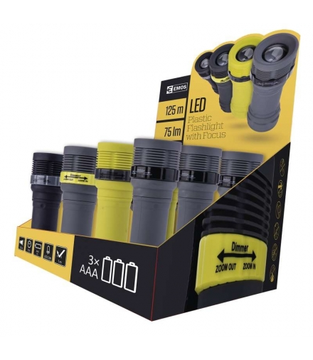 Latarka LED 3W 3x AAA z zoomem, BOX 12szt EMOS P4703