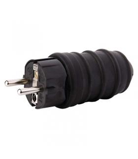 Wtyczka prosta IP44 guma czarna EMOS P0050